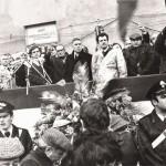 Franco Bentivogli e Bruno Trentin ai funerali di Guido Rossa