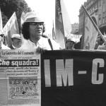 Corteo manifestazione contratto striscione 1990