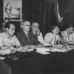 Giulio Pastore (terzo da sinistra), primo segretario generale e fondatore della Cisl, al primo (e unico) congresso della Fillm (poi divenuta Fim Cisl), fine luglio 1949. Penultimo a destra è Franco Volonté, che sarà il primo segretario generale della Fim Cisl, nata il 30 marzo 1950.