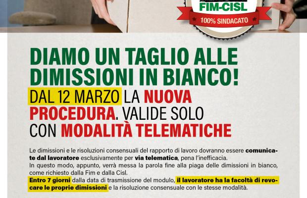 Volantino Dimissioni FIM CISL 2016
